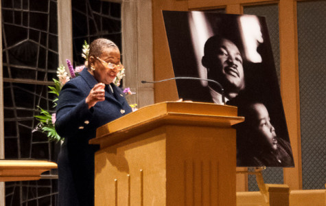 Former U.S. Senator Carol Moseley Braun speaks during the candlelight vigil in honor of Martin Luther King Jr. She encouraged the audience to be courageous and to teach younger generations the importance of the civil rights movement.