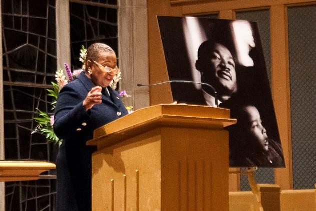 Former+U.S.+Senator+Carol+Moseley+Braun+speaks+during+the+candlelight+vigil+in+honor+of+Martin+Luther+King+Jr.+She+encouraged+the+audience+to+be+courageous+and+to+teach+younger+generations+the+importance+of+the+civil+rights+movement.
