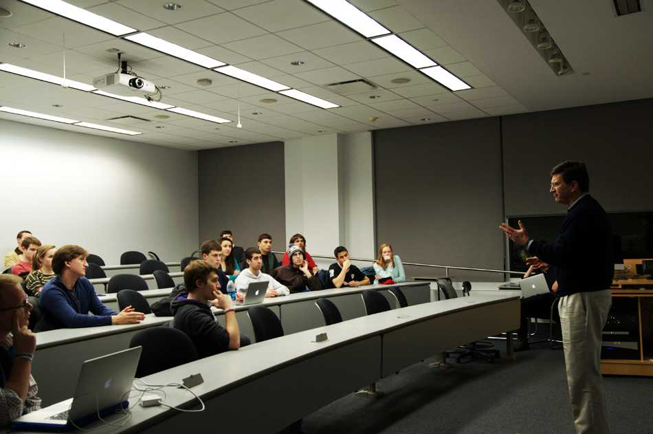 Former congressman and Northwestern alumnus, Brad Schneider discusses foreign policy, security issues in the United States and the 2016 presidential elections. The event took place in the McCormick Foundation Center on Thursday and was attended by students as well as community members.