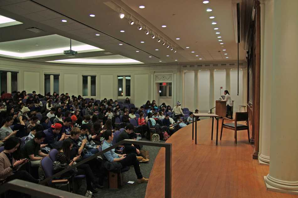 "Fight for Freedom screens ""Save My Seoul,"" a documentary about sex trafficking in South Korea. About 100 students attended the event at Harris Hall."