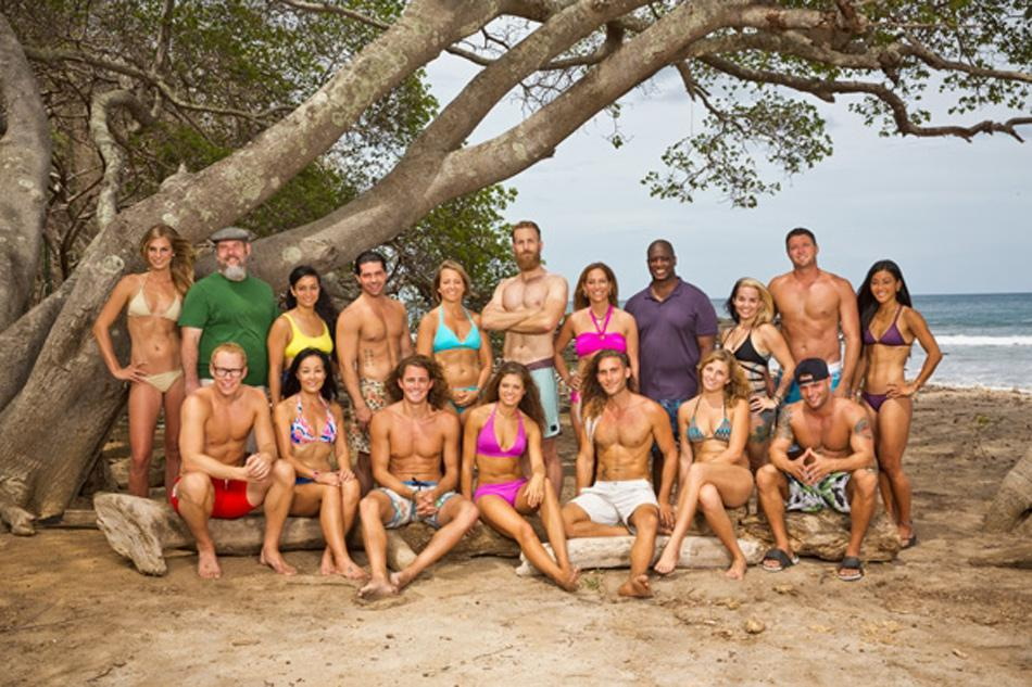 """Former Communication Prof. Max Dawson, (second row, sixth from left) poses with the rest of the cast of the 30th season of the CBS show """"Survivor."""" During his time at Northwestern, Dawson taught a class based on the reality TV show."""