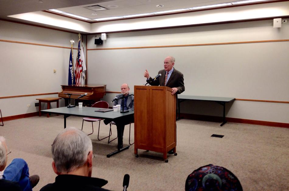 University of Chicago Prof. John Mearsheimer speaks at the Evanston Public Library about the Ukrainian crisis. He was one of two panelists at a talk hosted Saturday afternoon by local activist organization Neighbors for Peace.