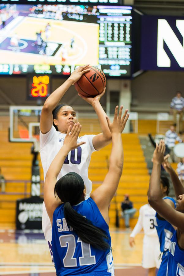 Nia Coffey goes up for the shot. The sophomore forward has been in a shooting slump of late, nailing just 25 percent of her shots from the field over her last three games.
