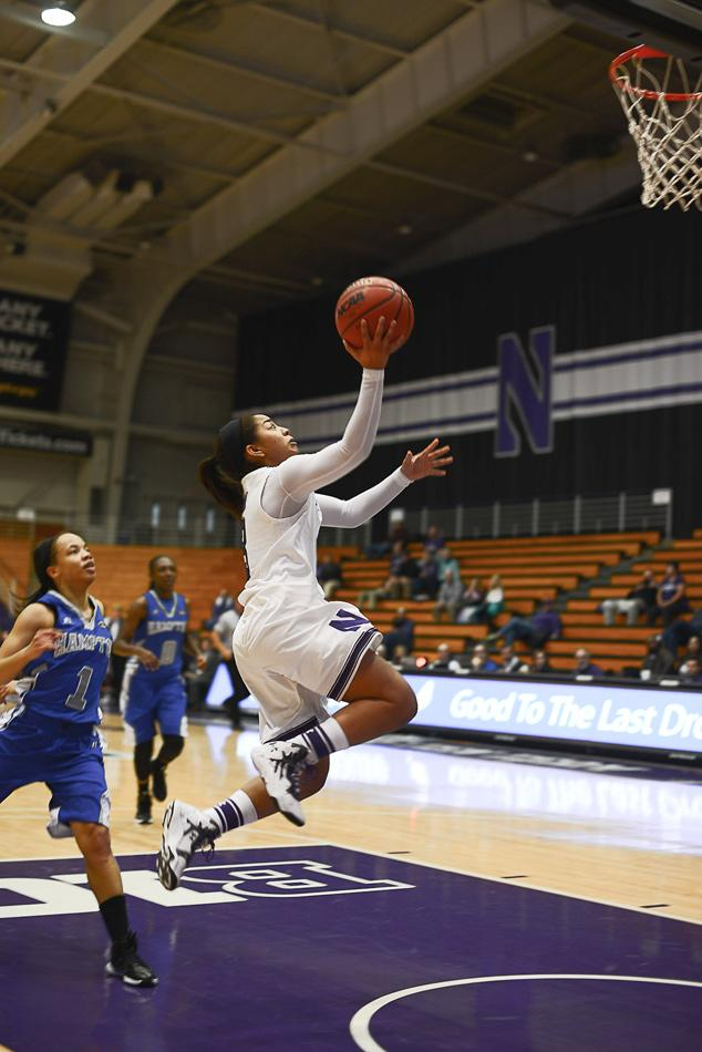 Ashley Deary shoots a lay-up. The sophomore guard was the leading cog in Northwestern's robust offense against Michigan State, scoring 18 of the team's 77 points.