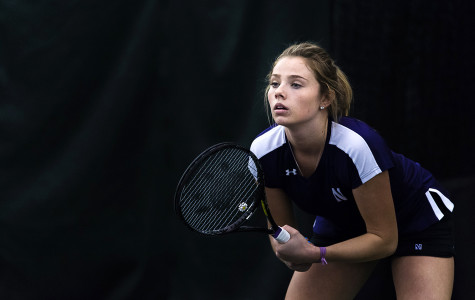 Alex Chatt readies herself to return a serve. The freshman has won her last three singles matches.