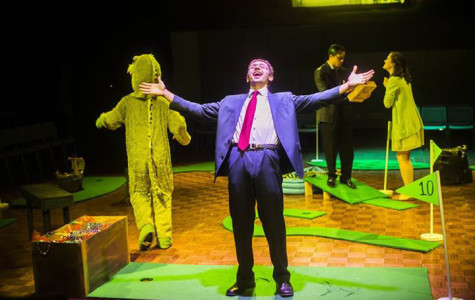 """Communication sophomore Daniel Stompor takes center stage during """"The Alligators."""" The show, written by student playwright A.J. Roy, ran from Feb. 12 to Feb. 14."""