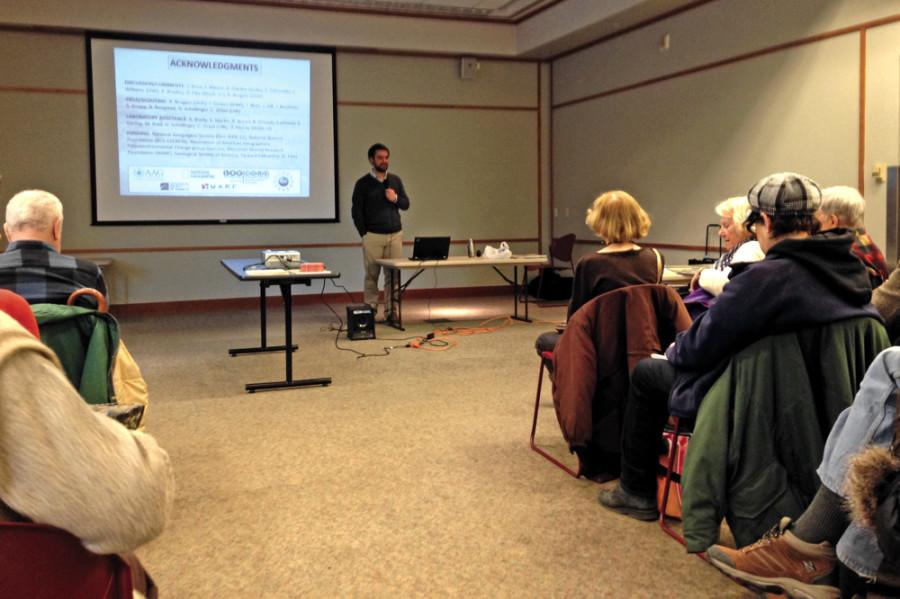 Samuel Munoz, a Ph.D. candidate in the Department of Geography at the University of Wisconsin-Madison, speaks Sunday about the environmental history of Cahokia during the Chicago Archaeological Society's monthly meeting at the Evanston Public Library. Munoz has studied the environment of Cahokia, a region in southern Illinois that was home to the Native American Mississippian mound-building culture.