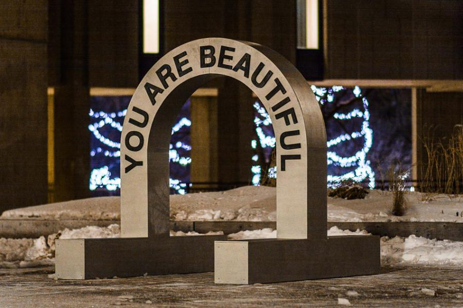 The You Are Beautiful arch, created by designer Matthew Hoffman, will be at the plaza in front of University Library until Friday. The arch is part of Northwestern's celebration of Body Acceptance Week.