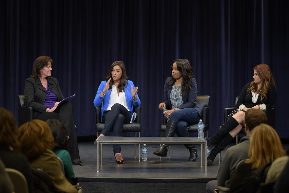 "Christine Brennan (Medill '80, '81), Cassidy Hubbarth (Medill '07), Pam Oliver and Rachel Nichols (Medill '95) discuss women in sports media at a panel Tuesday. The panel was the fifth installment of the ""Beyond the Box Score""  lecture series hosted by the Medill School of Journalism, Media, Integrated Marketing Communications and Northwestern Athletics."