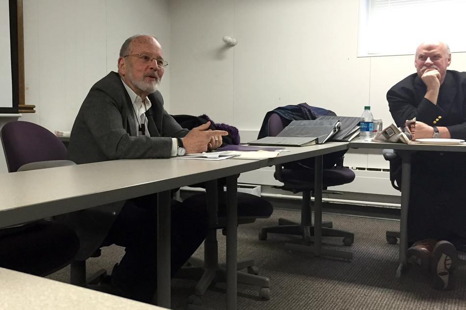 Medill Prof. Loren Ghiglione speaks at a colloquium about Northwestern's progress in implementing Native American outreach and inclusion recommendations. The recommendations were made by a task force following a report on University founder John Evans' culpability in the Sand Creek Massacre.
