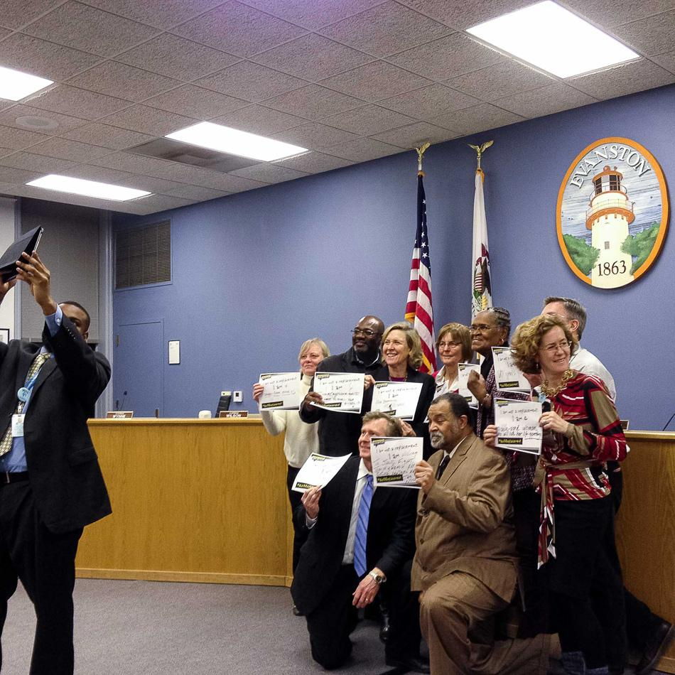 City officials pose for a selfie promoting national Kick Butts Day. The Evanston Department of Health and Human Services will use the photo to promote tobacco-free lifestyles for local youth.