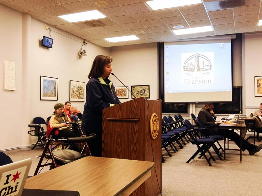 """Renee Paden speaks about the proposition to approve the Emerson Street/Ridge Ave./Green Bay Road Corridor Improvement Project. Paden called the traffic study of the intersection commissioned by the city an """"abomination."""""""
