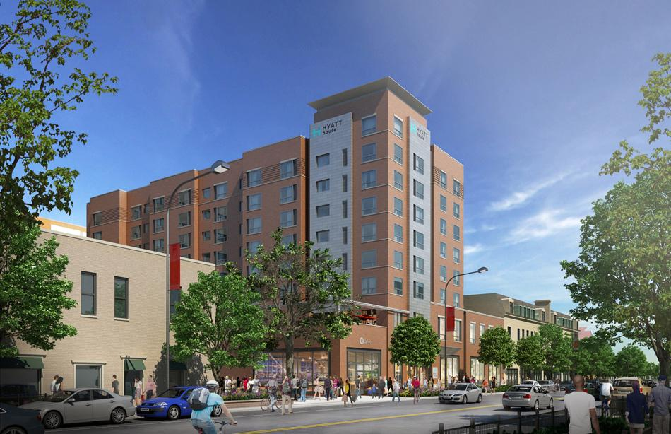 Hyatt Hotel has plans to open an extended-stay hotel at 1515 Chicago Ave., shown in this rendering. The hotel, along with a planned apartment building, expects to add to the Evanston community and economy.