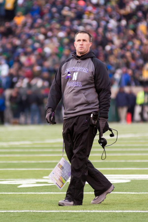 Pat+Fitzgerald+walks+on+the+field.+The+coach+said+he+did+%E2%80%9Ca+360+of+the+program%E2%80%9D+during+the+offseason.