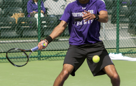 Sam Shropshire prepares to go on the attack. The sophomore currently holds down the fort at No. 1 singles and No. 2 doubles for Northwestern.