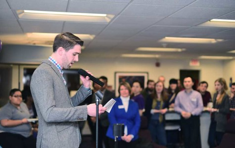 Brett Stachler, graduate assistant at the Gender and Sexuality Resource Center, speaks about the Resource Center's recent changes. The Resource Center had a grand reopening Friday on the third floor of the Norris University Center.