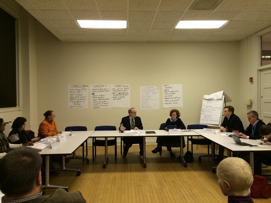 Members of the Harley Clarke Citizens Committee discuss a list of criteria they compiled at the meeting. The committee met to address ways to approach the future of the Harley Clarke Mansion.
