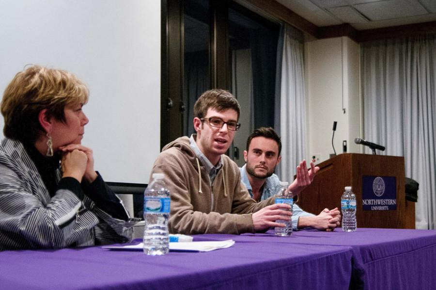 Mike+Gillis%2C+a+writer+for+The+Onion%2C+speaks+about+freedom+of+speech+at+a+panel+hosted+by+Northwestern+Community+Development+Corps+and+Northwestern+Political+Union.+Gillis%2C+Steve+Etheridge+from+The+Onion+and+former+Obama+administration+official+Hannah+Rosenthal+visited+NU+to+discuss+the+Charlie+Hebdo+shootings.