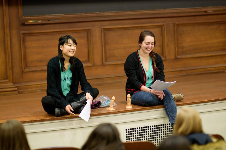 "SESP senior Frances Fu and Communication senior Grace Gabel discuss ""hookup culture."" The conversation was hosted by Alpha Chi Omega and Sexual Health and Assault Peer Educators."