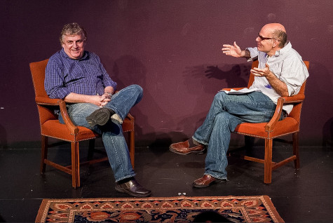 """Host Jimmy Carrane chats with Chicago improviser Noah Gregoropoulos (Communication '81). The two will be reunited Thursday when Carrane hosts his show, """"Improv Nerd,"""" in Harris Hall with Gregoropoulos as a guest."""