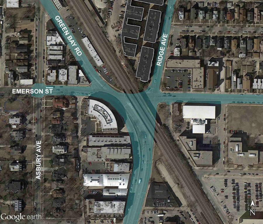 The+Emerson+Street%2C+Ridge+Avenue+and+Green+Bay+Road+intersection+will+be+improved+through+the+Emerson-Ridge-Green+Bay+Improvements+Project.+Options+for+the+project+were+discussed+at+a+city+meeting+Wednesday.