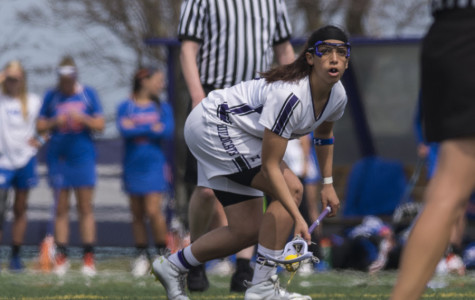 Kara Mupo waits for the whistle. The senior attack contributed a goal in Saturday's 13-6 win, but it was freshman midfielder Selena Lasota who led the offense with her six scores.