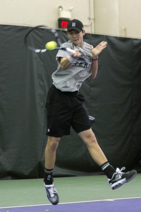 Strong Kirchheimer sets up a forehand. The sophomore has compiled an 8-3 record in singles play thus far this season.