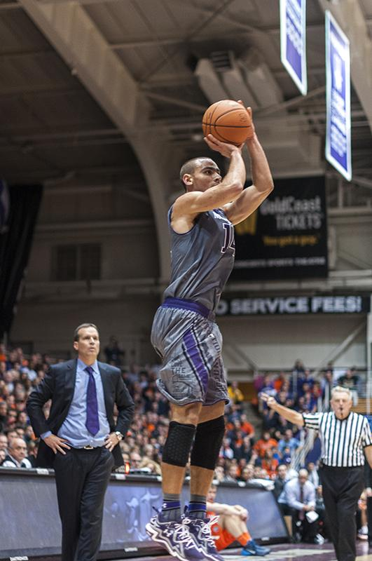 Tre Demps goes up for the jumper. The junior guard scored 16 points for Northwestern on Saturday, part of a robust offensive effort in a 60-39 Wildcats win.