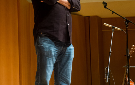 Actor and comedian Nick Offerman speaks at Pick-Staiger Concert Hall on Saturday night. Offerman discussed his woodworking hobby and political beliefs, and interspersed his talk with songs on a homemade ukulele.
