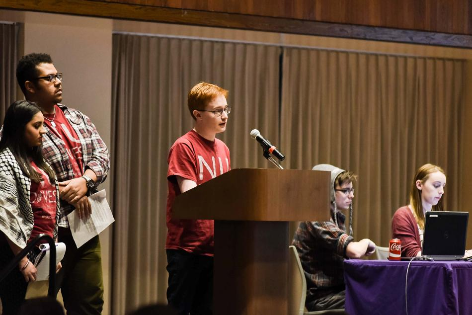 Weinberg junior and member of NUDivest Noah Whinston speaks during last week's Associated Student Government Senate, during which the campaign's divestment resolution passed. NU joins a growing number of universities that have passed such resolutions.