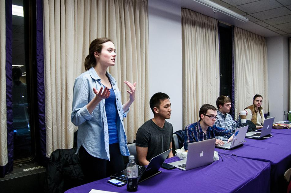 Weinberg senior Anna Rennich speaks at Associated Student Government's Senate meeting Wednesday night. An ASG-created task force will lobby the University to create an advisory committee that includes students to oversee its investments.