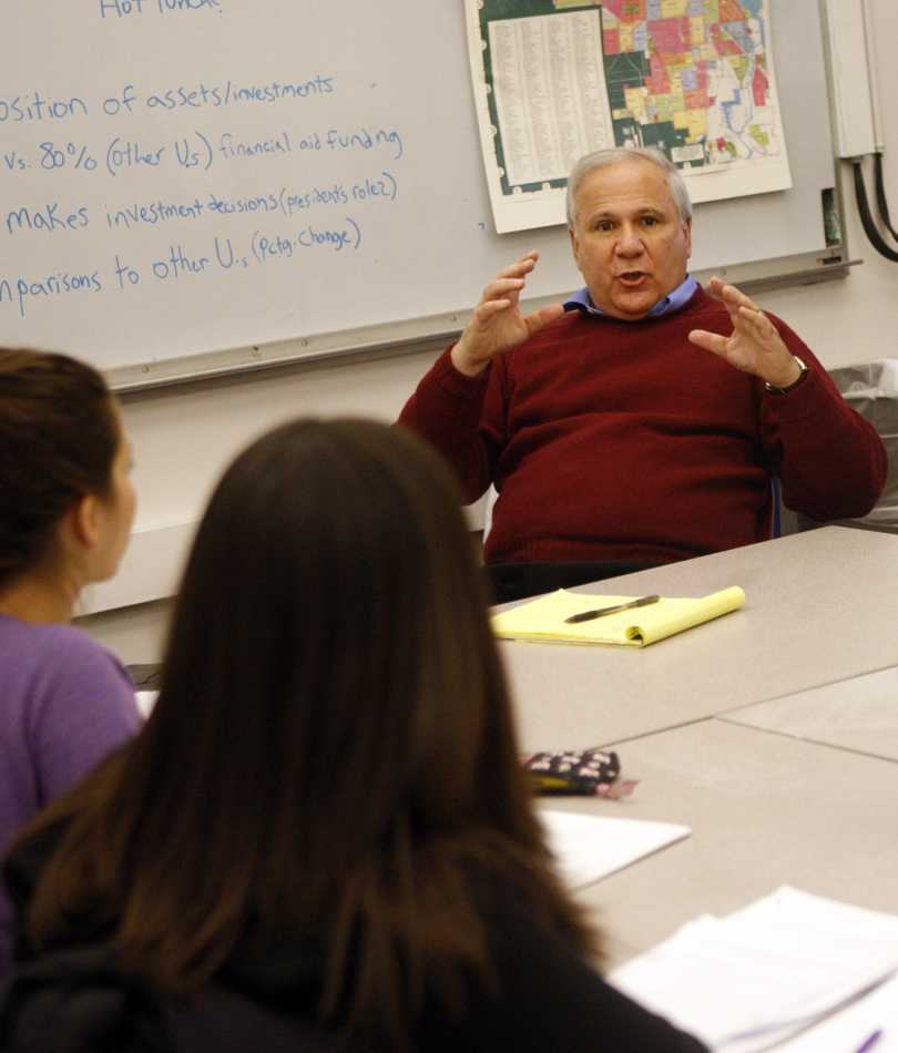 Former Medill Prof. David Protess speaks with students during an Innocence Project meeting at Northwestern in 2009. Protess and NU are defendants in a suit filed Tuesday by a former inmate who was recently freed after spending 15 years in prison.