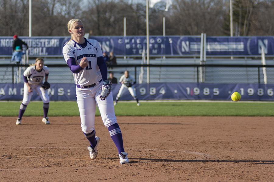 Kristen+Wood+releases+a+pitch+toward+the+plate.+The+junior+pitcher+was+a+bright+spot+for+Northwestern+over+the+weekend%2C+taking+two+no-hitters+into+the+fifth+inning.