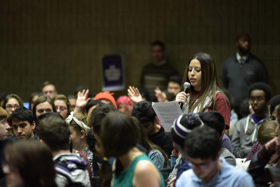 Off-campus senator Marcel Hanna, a Weinberg sophomore, speaks during Associated Student Government's five-hour debate on the Northwestern Divest-sponsored resolution Wednesday night. The resolution passed with 24 votes for, 22 against and three abstentions.