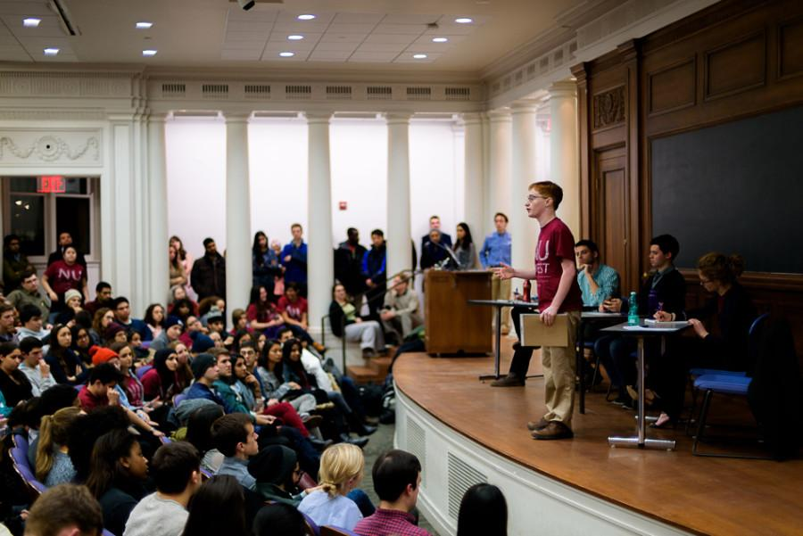 Weinberg junior Noah Whinston speaks on behalf of NUDivest at a panel hosted by NU Political Union. NUDivest and NU Coalition for Peace formally met for the first time at Monday's discussion.