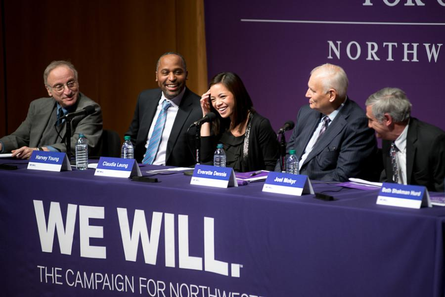 "A panel discusses a new Northwestern global studies initiative on Jan. 28 after the University announced Roberta Buffett Elliott's (Weinberg '54) record $100 million donation to the ""We Will"" campaign. NU officials have confirmed that the campaign is ahead of schedule."