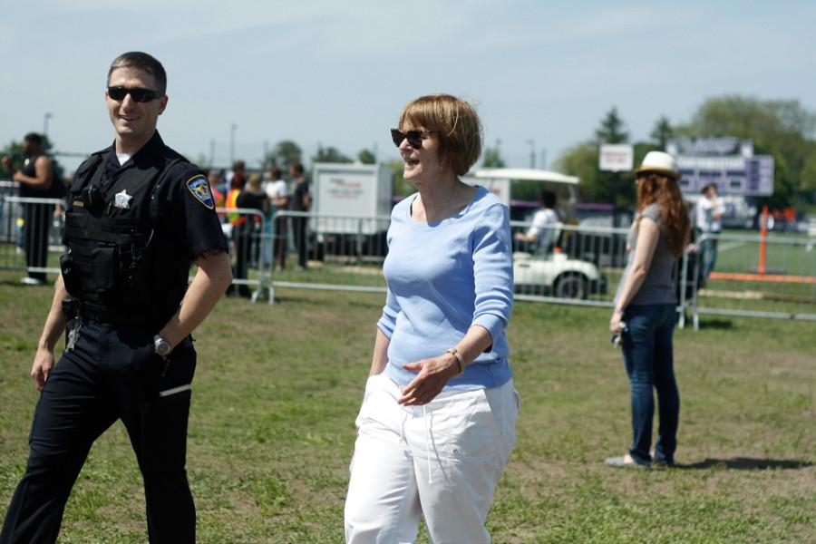 Mayor Elizabeth Tisdahl stops by Dillo Day in 2014. The mayor called the annual Mayfest event pleasant even though she received a record number of complaints from Evanston residents.