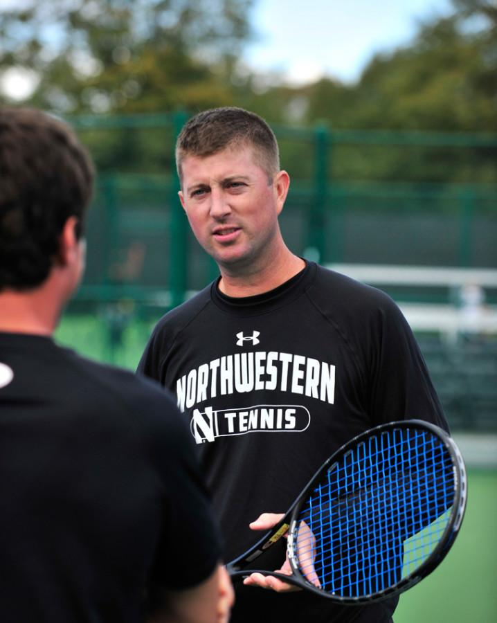 Arvid+Swan+takes+a+hands-on+approach+with+his+athletes.+The+coach+has+mentored+numerous+successful+tennis+players+and+lifted+the+Northwestern+men%E2%80%99s+tennis+program+to+new+heights.