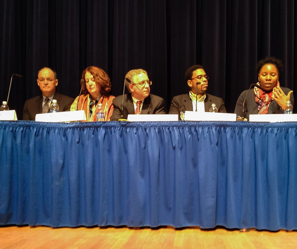 District 202 school board candidates discuss their platforms during a forum discussion. The five candidates pitched their plans for ETHS ahead of the April 7 election.