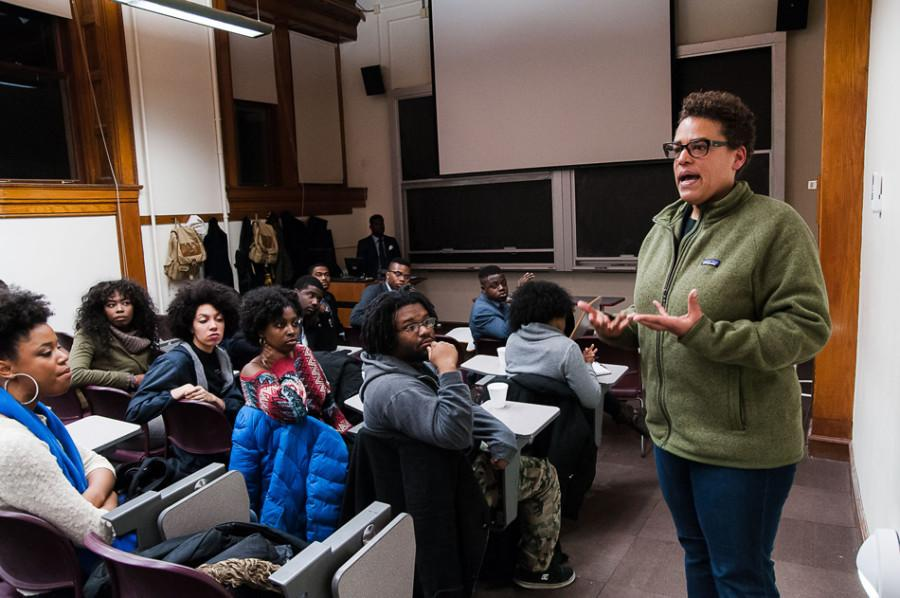 African American Studies Prof. Michelle Wright speaks at Alpha Phi Alpha's discussion on wrongful appropriation of black culture. More than 30 people attended the discussion, which covered topics that included slang, hair and Iggy Azalea.
