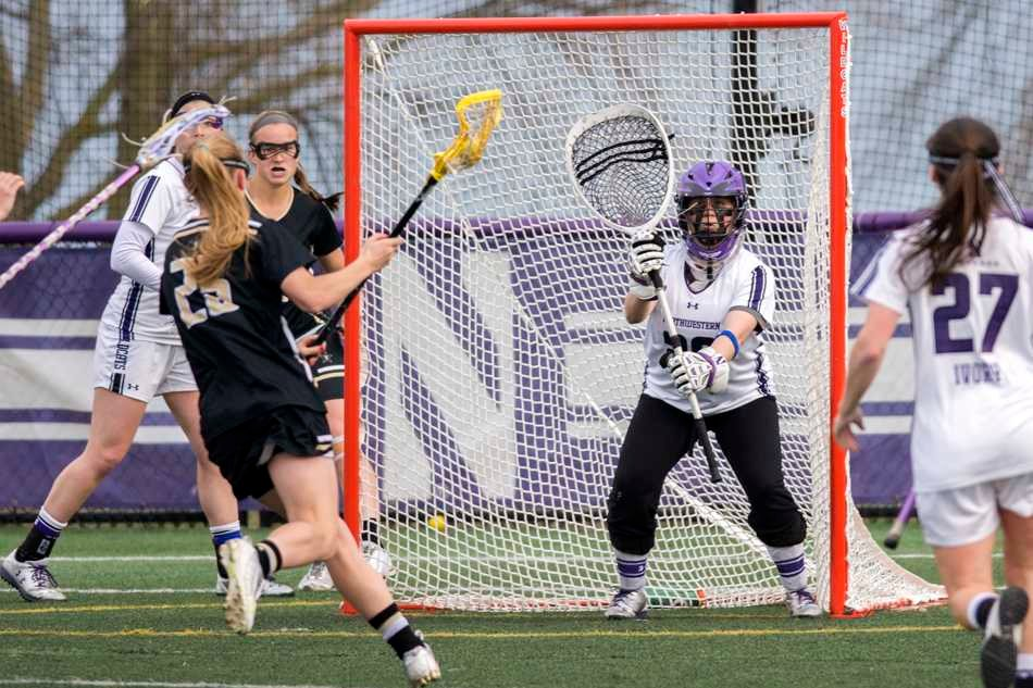 Bridget Bianco prepares for an incoming ball. The senior goalkeeper recorded a season-high 13 saves in a 12-11 loss to North Carolina.