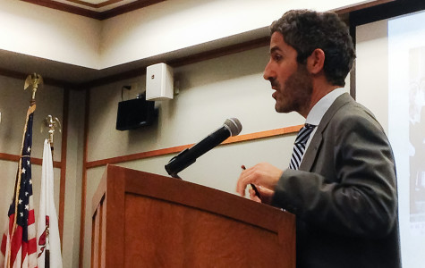 Ussama Makdisi, a professor of history at Rice University, speaks Monday at the Evanston Public Library. Makdisi discussed the origins of sectarianism in the modern Middle East.