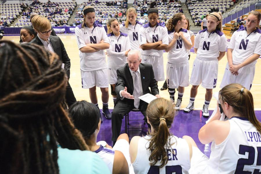 Joe McKeown offers some instructions for his team. The head coach has built Northwestern from a 7-23 outfit to a Big Ten contender in just seven years.