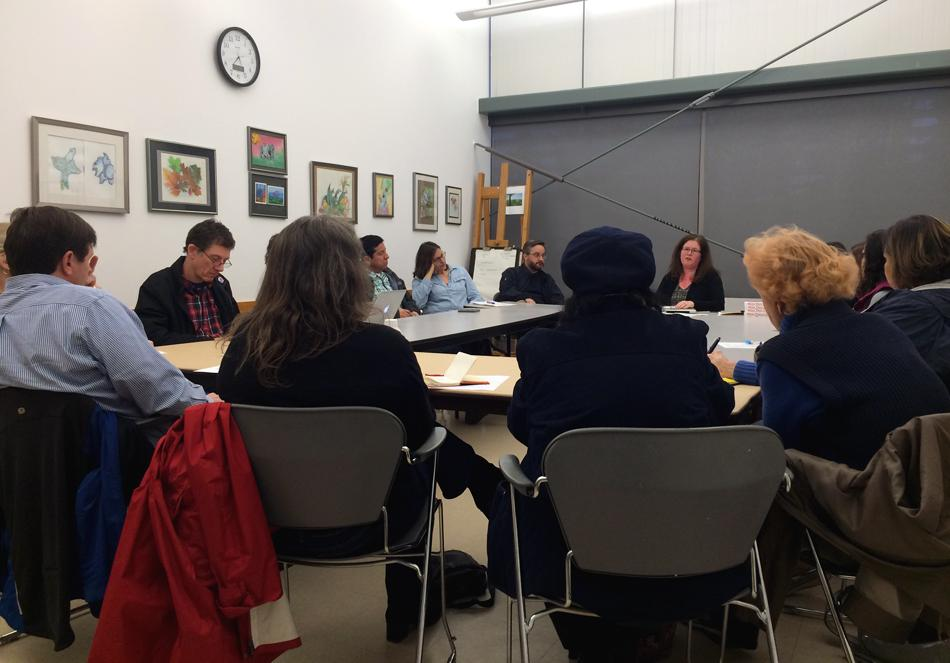 Julie Fain, an activist involved with More Than a Score Chicago, speaks to a group of Evanston parents and teachers about opting out of PARCC testing. More Than a Score opposes the amount of time, resources and manpower dedicated to administering standardized testing in CPS.