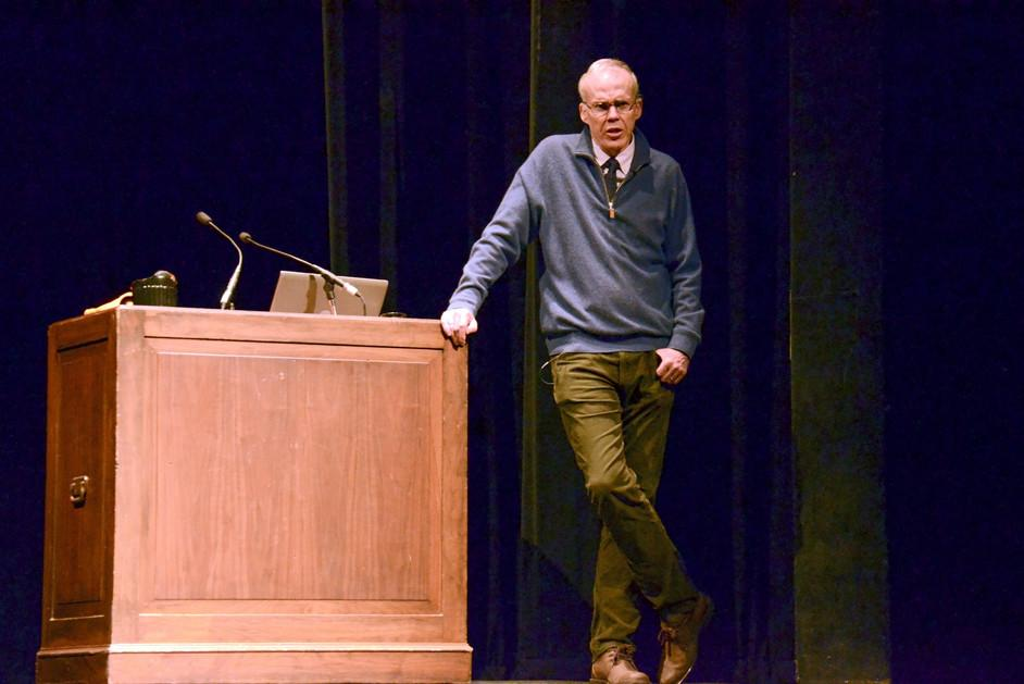Bill McKibben, renowned environmentalist, discusses climate change at SEED's winter speaker event. McKibben, founder of the environmental movement 350.org, has protested the Keystone XL pipeline and has written bestselling books about the environment.