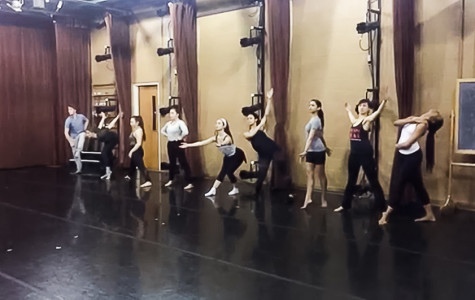 "Dancers rehearse for ""B-Tracks,"" choreographed by Jeff Hancock and Darrell Jones, a piece in ""Danceworks 2015: Ties that Bind."" The work features a vogue style and fans as props."