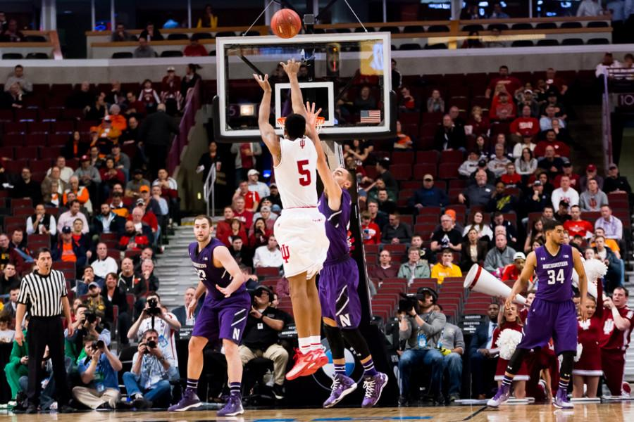 Indiana's Troy Williams elevates for the shot. The sophomore forward was held to 7 points on Thursday but grabbed five offensive rebounds, part of the Hoosiers' killer 20-5 advantage in that category over Northwestern.