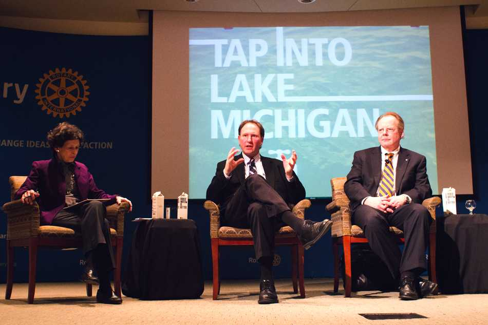 A panel of experts answer questions about local water conservation. Rotary International hosted an event Tuesday to discuss diverse ways to improve and conserve Great Lakes water.