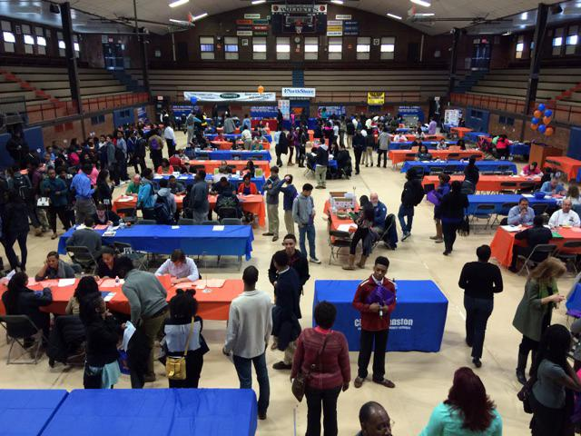 Students attend the mayor's annual youth summer job fair at Evanston Township High School. This year, the fair included more than 30 businesses and offered more than 600 jobs to attendees.