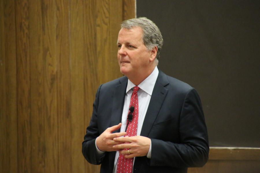 Doug Parker, CEO of American Airlines, speaks Monday night about the future of the aviation industry. More than 400 people attended the lecture, which was hosted by the Northwestern University Transportation Center.